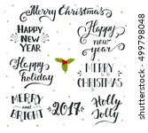 set of hand drawn merry...   Shutterstock .eps vector #499798048