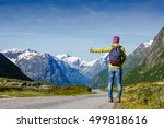 hitchhiking tourism concept.... | Shutterstock . vector #499818616