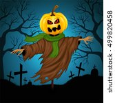 scarecrow for halloween on the... | Shutterstock .eps vector #499820458