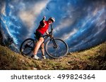 man in helmet and glasses stay... | Shutterstock . vector #499824364