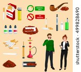 smoking tobacco products icons...   Shutterstock .eps vector #499828690
