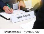 close up of registration desk... | Shutterstock . vector #499830739