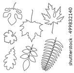 outline leaves. icon set | Shutterstock .eps vector #499832140
