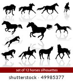 vector horses silhouettes | Shutterstock .eps vector #49985377