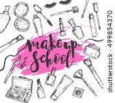 creative make up school poster... | Shutterstock .eps vector #499854370