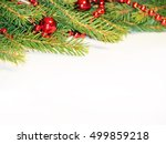 decorated christmas tree on... | Shutterstock . vector #499859218