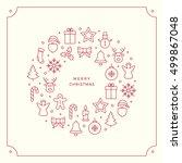 red christmas line icons border ...   Shutterstock .eps vector #499867048