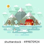 flat design vector nature... | Shutterstock .eps vector #499870924