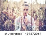 outdoor fashion photo of young... | Shutterstock . vector #499872064