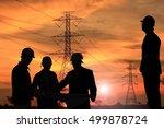 silhouette man of engineers... | Shutterstock . vector #499878724