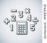 calculator math education line... | Shutterstock .eps vector #499879918