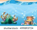 cartoon vector underwater... | Shutterstock .eps vector #499893724