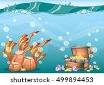 cartoon vector underwater... | Shutterstock .eps vector #499894453