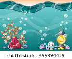 cartoon vector underwater... | Shutterstock .eps vector #499894459