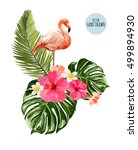 hand drawn pink flamingo ... | Shutterstock .eps vector #499894930