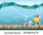 cartoon vector underwater... | Shutterstock .eps vector #499895479