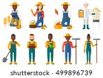 set of farmers using... | Shutterstock .eps vector #499896739