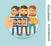 three happy caucasian hipster... | Shutterstock .eps vector #499897924