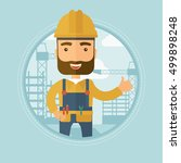 caucasian hipster builder with... | Shutterstock .eps vector #499898248