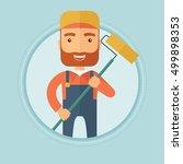a hipster caucasian painter... | Shutterstock .eps vector #499898353