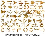 arrows set gold isolated on... | Shutterstock . vector #49990822