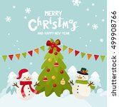 merry christmas greeting card... | Shutterstock .eps vector #499908766