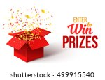 open red gift box and confetti. ... | Shutterstock .eps vector #499915540