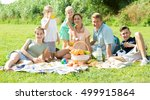 happy parents with four kids in ... | Shutterstock . vector #499915864