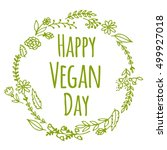 vegan product label. world... | Shutterstock .eps vector #499927018