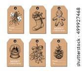 christmas vintage gift tags set.... | Shutterstock .eps vector #499927468