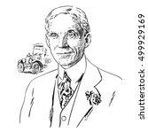 henry ford. hand drawn portrait.... | Shutterstock .eps vector #499929169