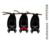 three bats hanging on the... | Shutterstock .eps vector #499929208