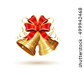golden christmas bells with red ... | Shutterstock .eps vector #499942468