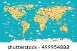 animal map for kid. world... | Shutterstock .eps vector #499954888