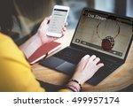 live stream video multimedia... | Shutterstock . vector #499957174