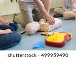 first aid cardiopulmonary... | Shutterstock . vector #499959490
