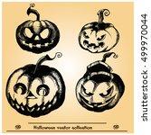 halloween  pumpkins vector... | Shutterstock .eps vector #499970044