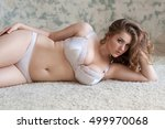 curly sexy plus size girl with... | Shutterstock . vector #499970068