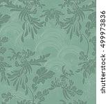 aster flower on green arcs.hand ... | Shutterstock .eps vector #499973836
