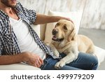 Stock photo guy petting his dog at home 499979209