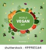vector card for world vegan day | Shutterstock .eps vector #499985164