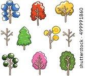 doodle of unique tree set... | Shutterstock .eps vector #499991860