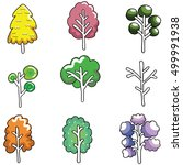 doodle of cute tree color set... | Shutterstock .eps vector #499991938