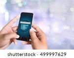 online survey person holding a... | Shutterstock . vector #499997629