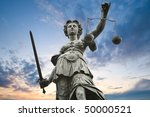 justice statue with sword and... | Shutterstock . vector #50000521
