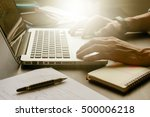 close up of male hands working...   Shutterstock . vector #500006218