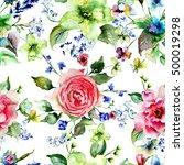 seamless wallpaper with summer... | Shutterstock . vector #500019298