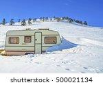 caravan trailer winter snow  | Shutterstock . vector #500021134