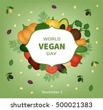 vector card for world vegan day | Shutterstock .eps vector #500021383