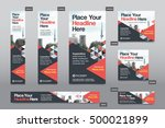 red color scheme with city... | Shutterstock .eps vector #500021899